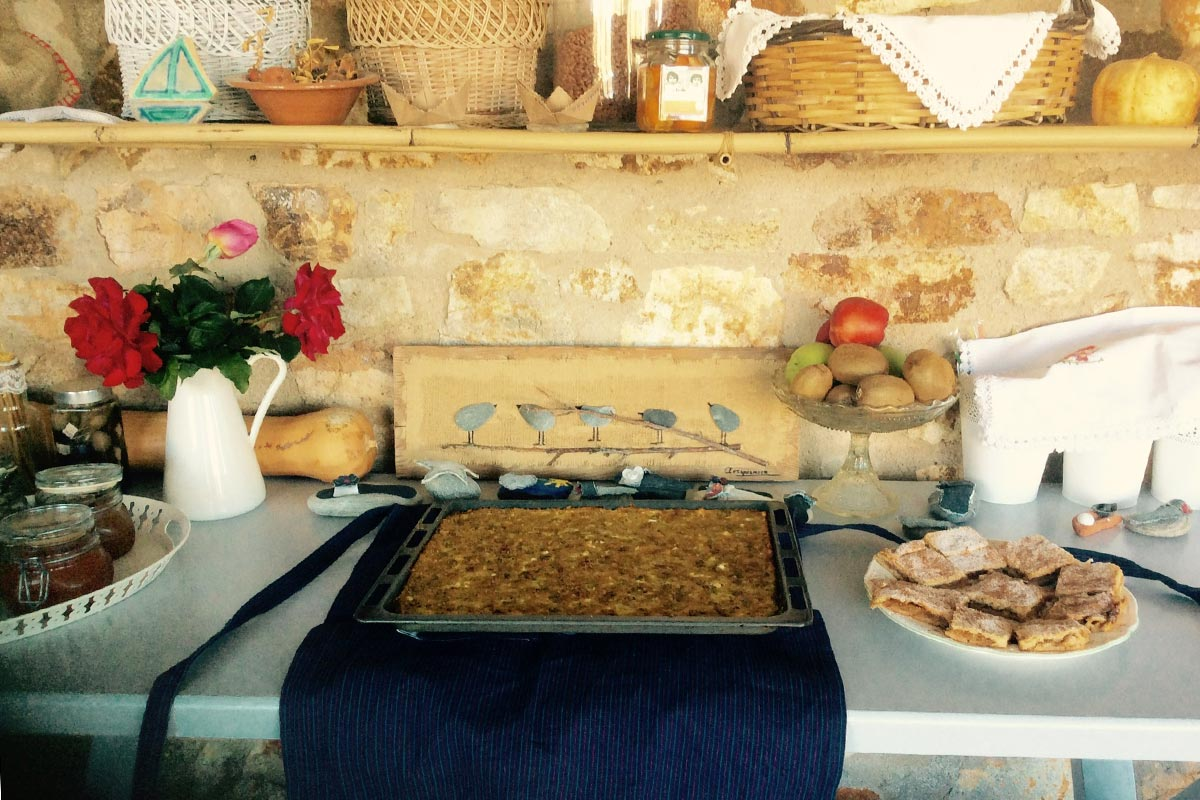 Breakfast at Amfitriti studios at Serifos - Homemade pies