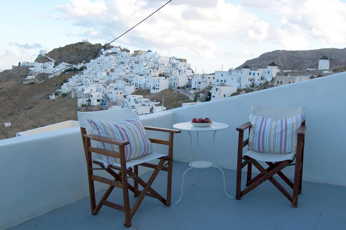 Veranda with view at Chora of Serifos